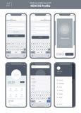 Wireframeuitrusting voor mobiele telefoon Mobiele App UI, UX-ontwerp Nieuw OS Profiel vector illustratie
