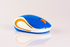 Wireles computer mouse isolated on white background, colorful mouse white, blue and orange mouse.  Stock Photos