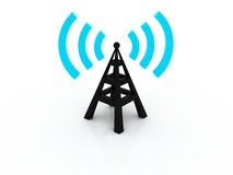 Wireless 3d tower with radio waves Stock Image