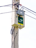 Wireless access point. Two antennas installation on pole Royalty Free Stock Photography