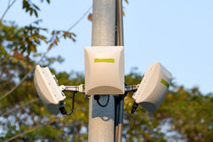 Wireless antenna in park Royalty Free Stock Photos