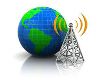 Wireless antenna to the globe Royalty Free Stock Image