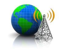 Wireless antenna to the globe Royalty Free Stock Image