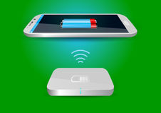 Wireless Battery Charger and Smartphone or Tablet - Vector Illus Royalty Free Stock Photo
