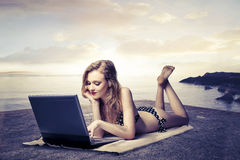 Wireless at the beach Stock Photography