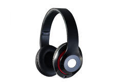 Wireless black headphones side view isolated Royalty Free Stock Photo