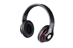 Wireless black headphones Royalty Free Stock Photos