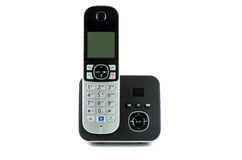 Wireless black telephone with cradle Royalty Free Stock Photos