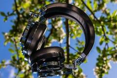 Wireless bluetooth travel headphones. Wireless travel headphones on mirror background Stock Photos