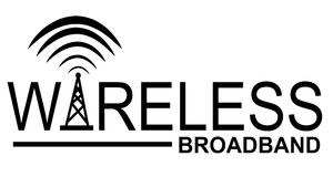 Wireless Broadband Logo. A clip art illustration featuring the words 'wireless broadband' which can be used as part of a logo or as just a design element. Ideal