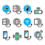 Wireless charging pad for smartphone or tablet icons set Stock Image