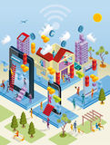 Wireless City in Isometric View. A city internet network with wireless and giants computing devices (as computer, digital tablet, mobile phone) in isometric view royalty free illustration