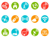 Wireless commuincation button icons set Stock Photos