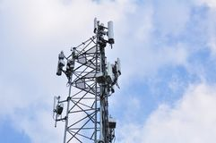Wireless Communication Antenna. With bright sky.Telecommunication tower with antennas with blue sky Stock Images