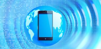 Wireless communication concept. Smartphone with blue Earth globe Stock Photos