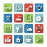 Wireless Communication Network Icons Set Royalty Free Stock Photos