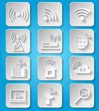 Wireless communication network icons set Stock Photo