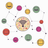 Wireless communication network. Vector graphics Stock Photos