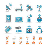 Wireless and communication technology icons. Icon set Stock Image