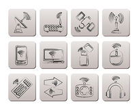 Wireless and communication technology icons Royalty Free Stock Images