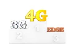 Wireless Communication Technology over Winners Podium. On a white background royalty free stock image
