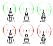 Wireless Communication Towers. 6 wireless aerials showing red and green (off & on) pulses. Made in Cinema4D Stock Photo