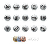 Wireless & Communications // Metal Button Series Stock Photography