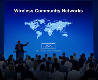 Wireless Community Networks Internet Sharing Concept Stock Image