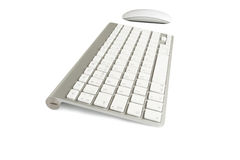 Wireless computer keyboard with the English alphabet and mouse Royalty Free Stock Photography