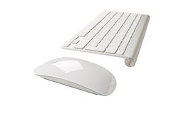 Wireless computer keyboard with the English alphabet and mouse Royalty Free Stock Image