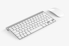 Wireless computer keyboard and mouse isolated on white background. Wireless computer keyboard with the English alphabet and mouse are isolated on white royalty free stock photo
