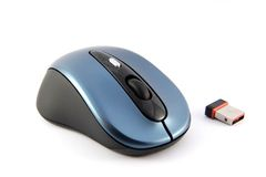 Wireless computer mouse. With small radio receiver on white Stock Photography