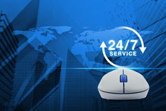 Wireless computer mouse with button 24 hours service icon over m Stock Images
