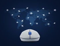 Wireless computer mouse with flight routes airplanes on world ma Royalty Free Stock Photography