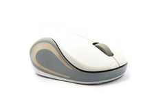 Wireless computer mouse with grey strike on white background Royalty Free Stock Photography