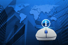 Wireless computer mouse with information sign icon over map and. City tower, Elements of this image furnished by NASA Stock Photos