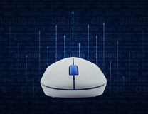 Wireless computer mouse over lighting line with computer binary Stock Image