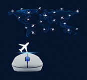 Wireless computer mouse with plane icon and world map with fligh Royalty Free Stock Photography