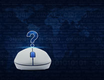 Wireless computer mouse with question mark sign icon over comput Stock Photos