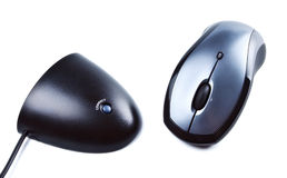 Wireless computer mouse and receiver Royalty Free Stock Images