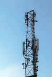 Wireless comunication tower with antenna on clear sky Royalty Free Stock Images