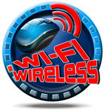 Wireless concept icon. Icon round with red written wi-fi wireless, and mouse Stock Image