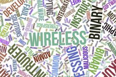 Wireless, conceptual word cloud for business, information technology or IT. Wireless, IT, information technology conceptual word cloud for for design wallpaper Royalty Free Stock Images