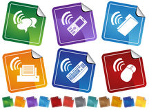 Wireless Connection. Set of 6 stickers showing wireless connections on different devices Royalty Free Stock Photos