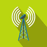 Wireless connection flat icon. On a green background Stock Photography