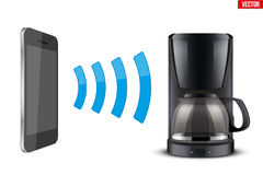 Wireless Controlling coffee maker with smartphone. Illustration of Wireless Controlling coffee maker with smartphone. IOT Concept and remote home appliance Stock Images