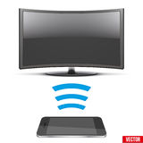 Wireless Controlling Modern led tv with smartphone. Illustration of Wireless Controlling Modern led tv with smartphone. IOT Concept and remote home appliance Royalty Free Stock Photo