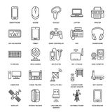 Wireless devices flat line icons. Wifi internet connection technology signs. Router, computer, smartphone, tablet. Laptop, printer, satellite. Vector linear vector illustration
