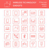 Wireless devices flat line icons. Wifi internet connection technology signs. Router, computer, smartphone, tablet Stock Photos