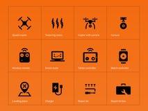 Wireless drone icons on orange background Stock Images